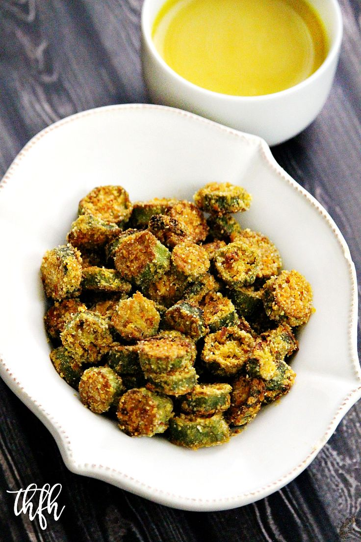 Gluten-Free Vegan Oven-Baked Okra Bites - okra pods, avocado oil (would sub another oil &/or reduce), almond flour, nutritional yeast, garlic powder, cayenne pepper, Himalayan pink salt