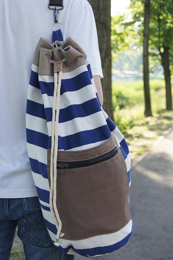 SAILOR BAG/ backpack. Striped marine sturdy cotton fabric sailor bag. Summer bag for men.Sports bag.Gym bag. Extra handle for easy clean on Etsy, 49,00$