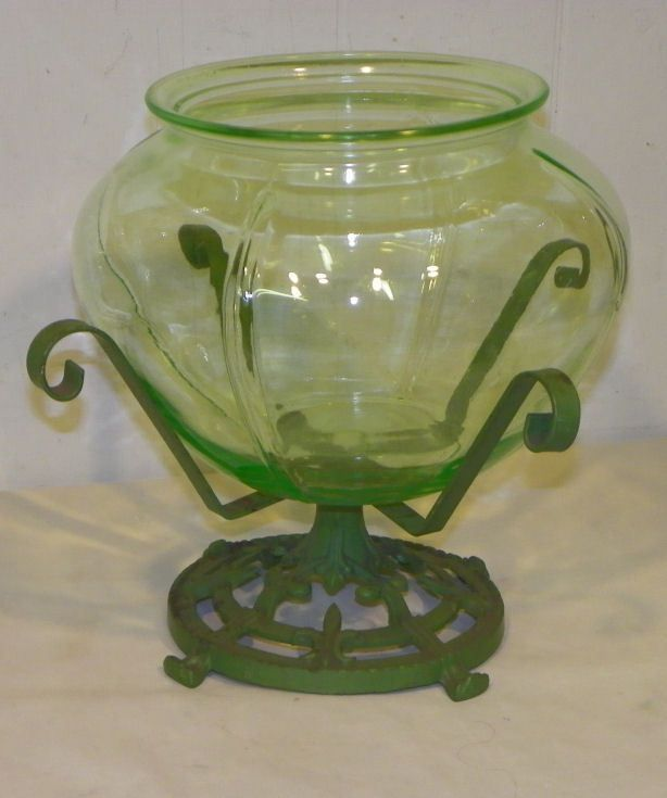 Antique Early 1900's Green Glass Fish Bowl with Cast Iron Stand #Victorian
