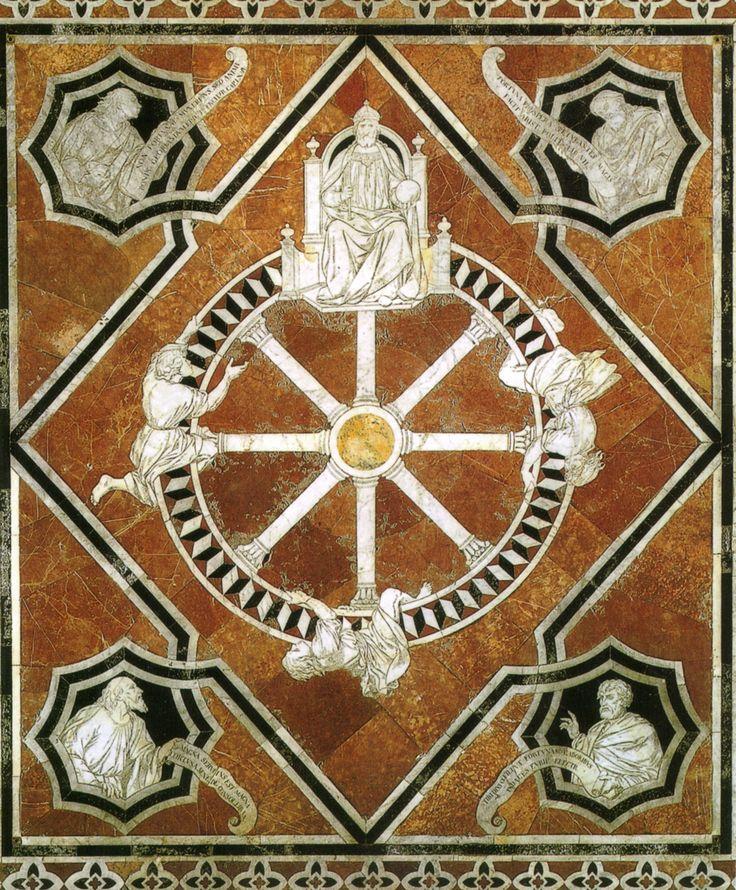 Pavimento del Duomo di #Siena - La Ruota della Fortuna (1372) - #DuomoDiSiena - vai alla pagina http://iltesorodisiena.tumblr.com/post/105262836162/pavimento-del-duomo-di-siena-navata-centrale-la …