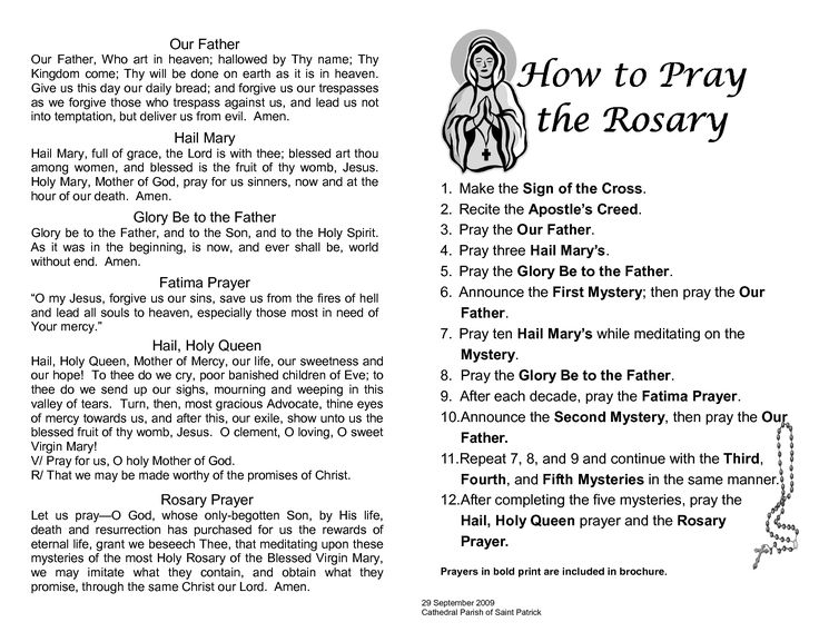 Sly image with how to pray the rosary printable booklet