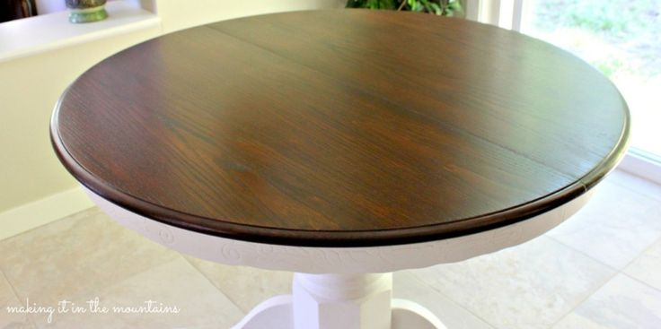 Oak Dining Table Re-do using Minwax Dark Walnut Stain and Annie Sloan Chalk Paint in Pure White