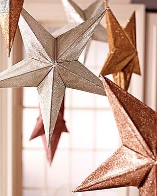 Martha Stewart Weddings 3D Stars Floating Centerpiece Constellation Fishing Wire Glitter DIY Rice Paper Lanterns Pink Gold Bronze Silver