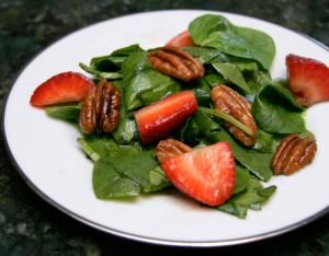 Recipes range from quick and easy strawberry-rhubarb fool and shortcut cake to fresh strawberry preserves and lemon cream cheese filled strawberries.: Spinach Salad With Strawberries and Pecans