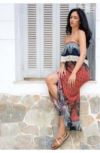 """Φόρεμα Maxi Στράπλες σε εμπριμέ χρώμα """"Zaamla"""""""