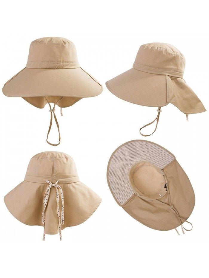 Womens Wide Brim Summer Sun Flap Cap Hat Neck Cover Face Mask Upf 50 16007 Khaki Cg12hbv9823 Hats Caps Hats Women