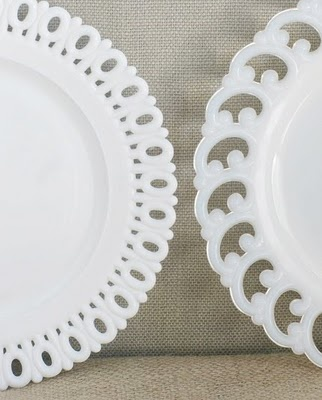 milkglass salad/dessert plates I have always loved plates that have unique lace looking trim!