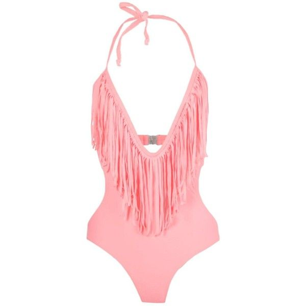 Boohoo Petite Olivia Fringe Plunge Swimsuit ($30) ❤ liked on Polyvore featuring swimwear, one-piece swimsuits, swim costume, petite bathing suits swimwear, petite swimwear, swimming costume and petite bathing suits