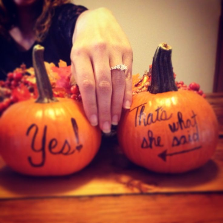 He asked and I said yes! Our Facebook engagement announcement. Included the pumpkins to match his proposal!