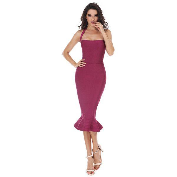 Fishtail Hem Halter Bandage Dress ($43) ❤ liked on Polyvore featuring dresses, halter neckline dress, halter-neck tops, fishtail dress, purple halter neck dress and purple bandage dress