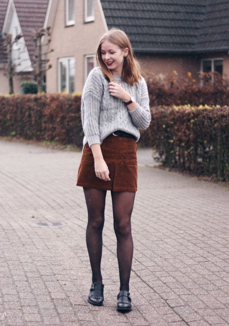 style, fashion, tights, suede skirt, a line, grey knit, jumper, long bob