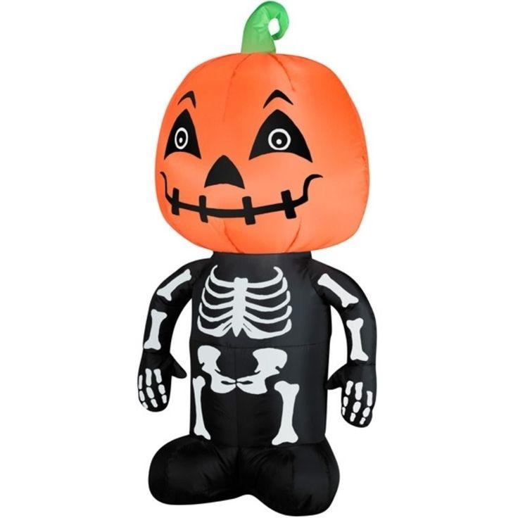 Gemmy 3.5' LED Inflatable Pumpkin Head on Skeleton Body Lighted Halloween Yard Art Decoration 31739987