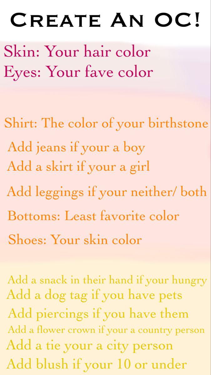 Original Character Generator Skin Color Hair Color Birthstone Colors