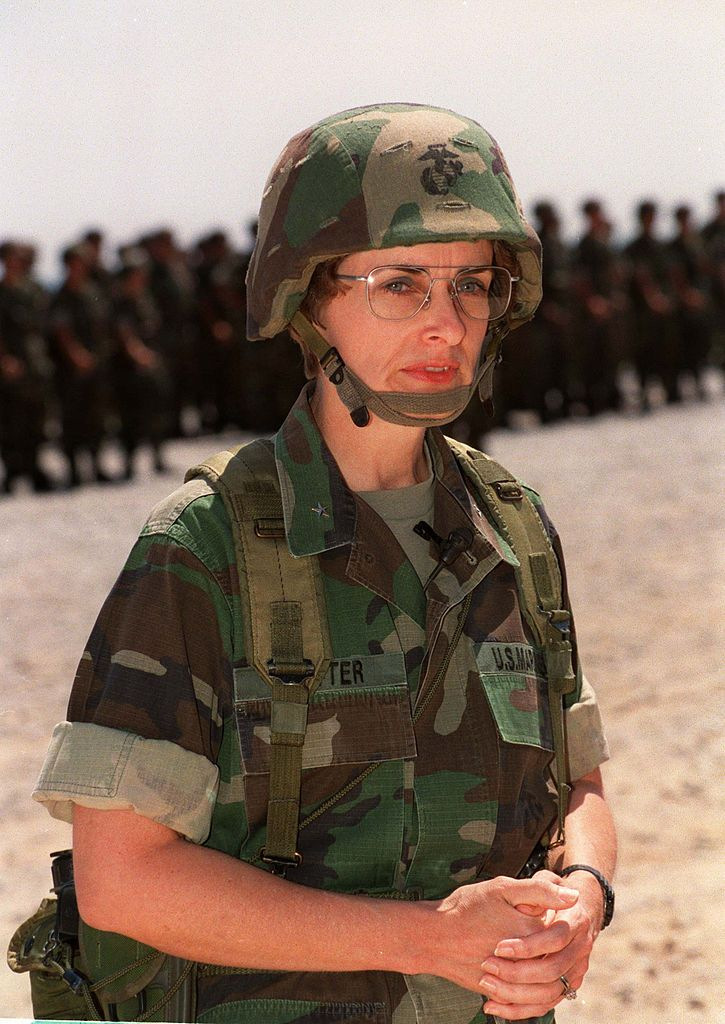 Carol A. Mutter (born 1945) is a retired US Marine Corps lieutenant general. She is the first woman in the history of the US Armed Forces to be appointed to a three-star grade. She retired from the Marine Corps on January 1, 1999. Her last active duty assignment was as Deputy Chief of Staff, Manpower and Reserve Affairs (DC/S, M&RA) at Marine Corps HQ. While serving with the US Space Command in Colorado Springs, she became the first woman to gain qualification as a Space Director.