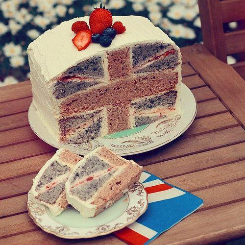 Susanna Storey's British Berries and Guernsey Cream Jubilee cake http://stroppybrunette.wordpress.com/2012/06/05/jubilee-battenberg-cake/
