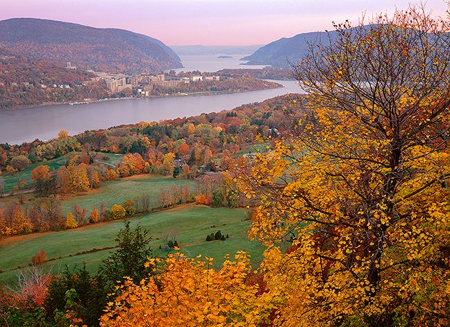 Looking at West Point in the fall from across the river.