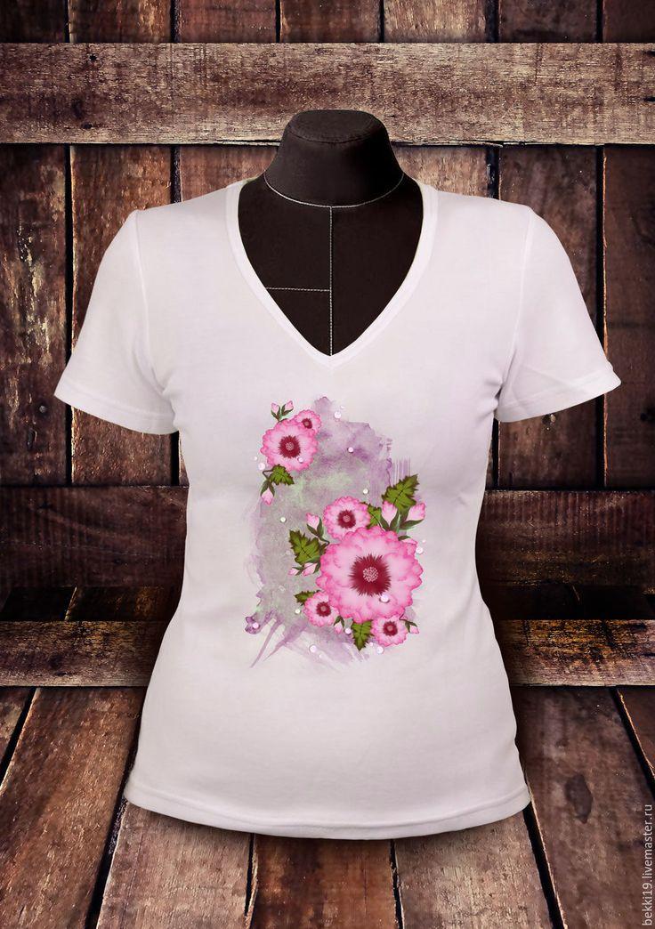 Купить Футболка Розовое настроение - белый, романтичный, стиль, Двойной мазок, розовые цветы, бутоны