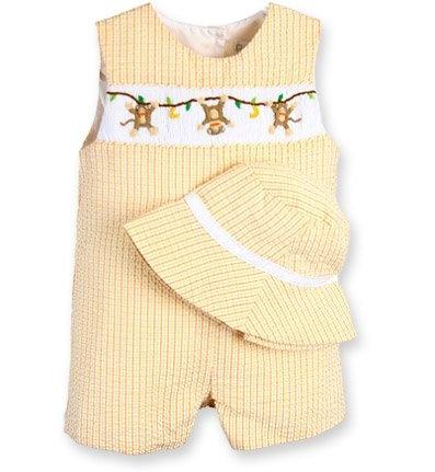 Buy Boys Smocked Clothing – Orange and Yellow Monkey Jon-Jon with Hat set – Newborn Boys, Infant Boy's and Toddler boys