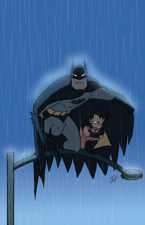 batman and robin, batman looking like a father figure to robin in this picture almost asif robin is dependent on him as the hero.