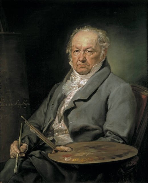 'The Painter Francisco de Goya y Lucientes' - Author: López Portaña, Vicente - Procedence: Royal Collection -- Against a green background, Francisco de Goya y Lucientes (1746-1828) sits holding the palette and brushes of his trade. López's dedication to Goya is on an easel to the left. The free, unpolished brushstrokes used by the artist here, quite different from the style he usually employed for his commissioned portraits, lends a special vivacity to this work.