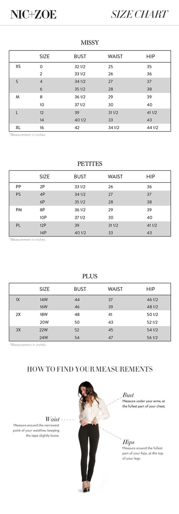 Nic Zoe Regular Petite And Plus Size Chart Via Nicandzoe