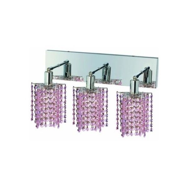 Elegant Lighting 1283W-O-P-RO 3-Light Crystal Vanity Light, Finished ($464) ❤ liked on Polyvore featuring home, lighting, wall lights, bathroom fixtures, indoor lighting, vanity light, crystal vanity lights, pink flamingo lights, pink lamp and crystal vanity light