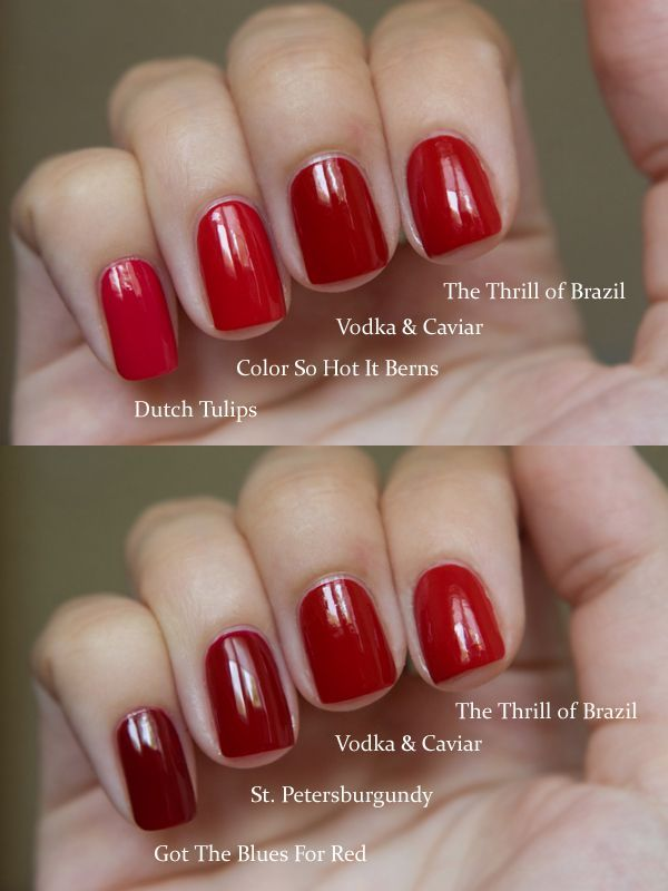 Got Red Nails For Prom Jems And Sparkles Were Added: Red Nail Polish Comparison (no Link)