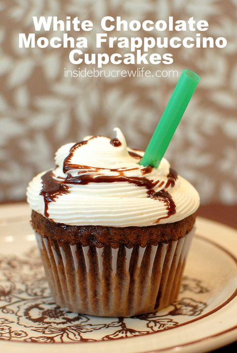 These fun coffee flavored cupcakes are topped with a creamy white chocolate frosting and chocoalte drizzle.