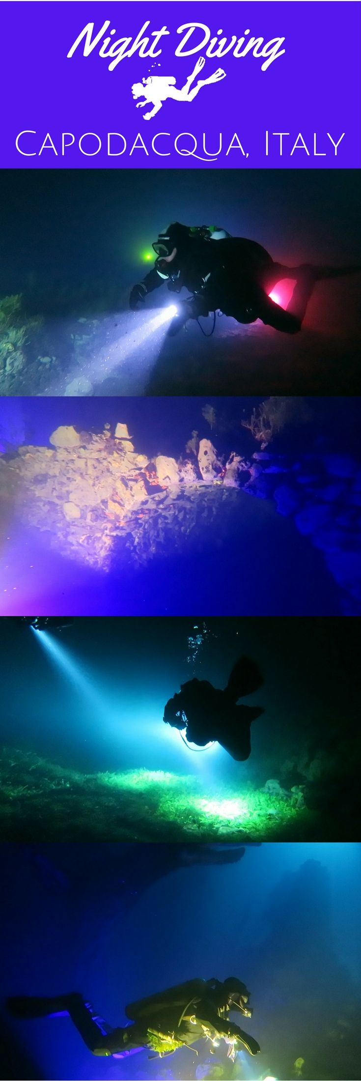 Night diving with colour lights at underwater ruins of Capodacqua Lake in Italy - Scuba diving - VIDEO - World Adventure Divers