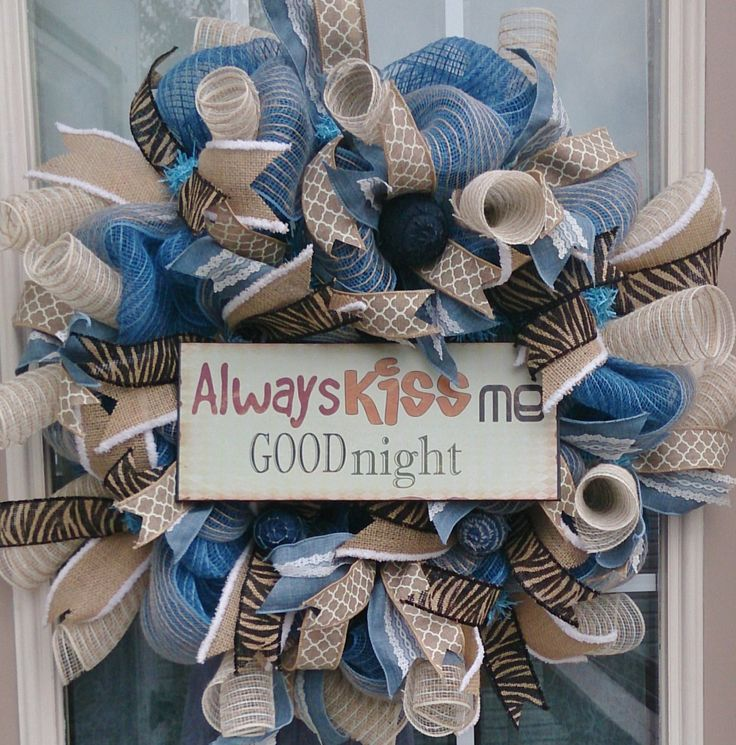 Always Kiss Me Goodnight, Shabby Chic Wreath, Bedroom Decor, Burlap Wreath, Rustic Decor Primitive Country, Home Decor Wreath by LakeCountryTreasure on Etsy