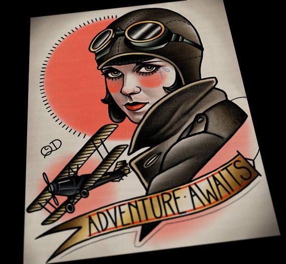 Aviator Flapper tattoo art print by Parlor Tattoo Prints