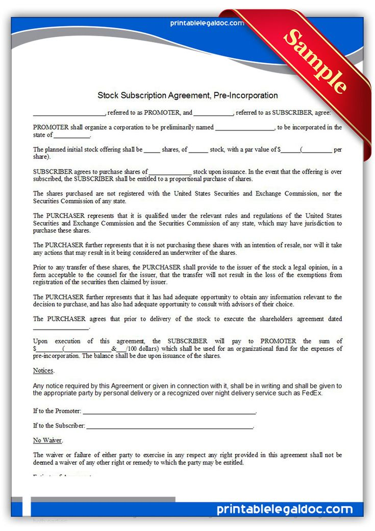 Printable stock subscription agreement pre incorporation Template - sample subscription agreement