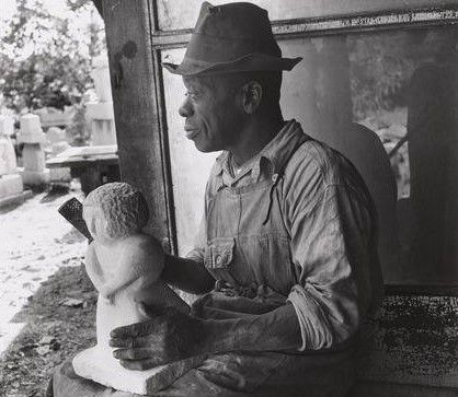 WILLIAM EDMONDSON 1870 ca.-1951 William Edmondson was the first Afro-American artist to have one-man show show at MoMA in New York. He was born in the '70s, in Tenessee, the son of freed slaves. He went to work at sixteen years of age as a manual laborer, railroad man, farm hand, fireman, and hospital janitor, and he never learned to read and write.