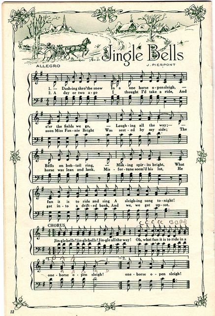 Jingle Bells sheet music to reprint for crafting