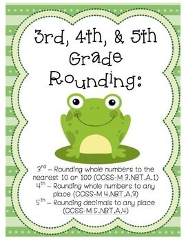 3rd, 4th, & 5th Grade Rounding Worksheets! Includes a total of 9 differentiated worksheets, with answer keys provided. Featuring an adorable frog theme! Aligned with CCSS & TEKS
