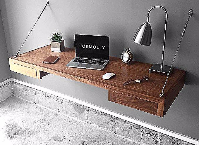 Floating Desk Wall Mounted Desk Walnut In 2020 Floating Desk Desk Storage Wall Mounted Desk