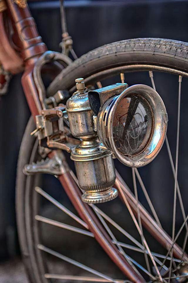 Vintage headlamp on a vintage bicycle
