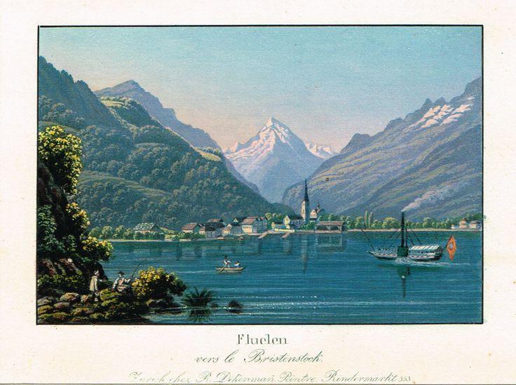 Fluelen vers le Bristenstock - Zurich chez R Dikenmañ, peintre Rindermarkt N°353 - Aquatinte XIXème - MAS Estampes Anciennes - MAS Antique Prints