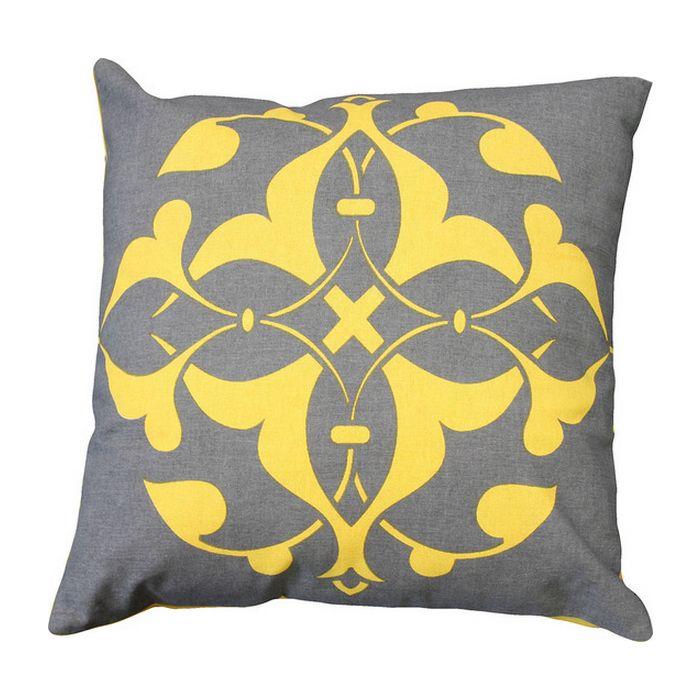 Oliver Cushion Yellow & Grey