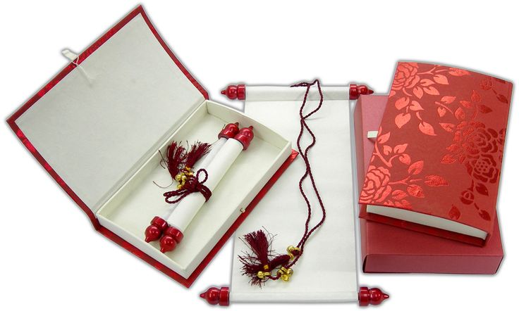 S763, Red Color, Shimmery Finish Paper, Exclusive Invitations, Scroll Invitations, Jewish Invitations
