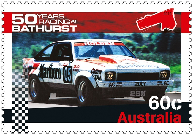 The most successful driver in the history of the Bathurst 1000 car race was Peter Brock - this stamp shows a Torana driven by Brock, who tragically died in September 2006 while racing in a rally event in Western Australia #car #holden #philately http://auspo.st/Rb7Lgx
