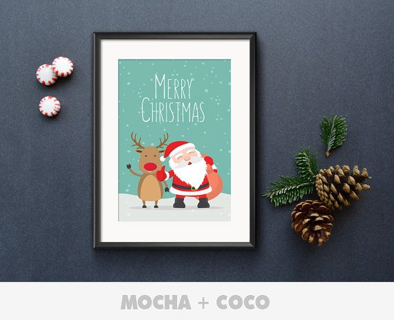 Rudolf and Santa Claus Illustration in Snow Poster, Christmas Wall Decor, Kids Room, Printable Mocha + Coco, INSTANT FILE DOWNLOAD