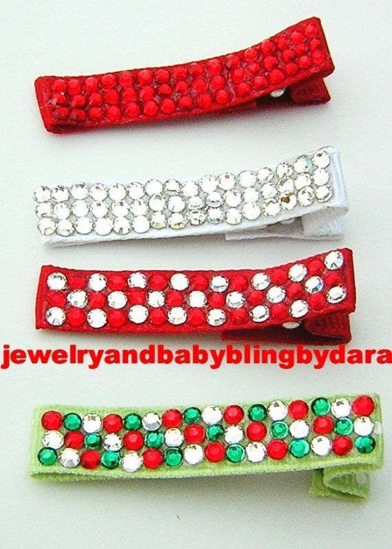 Items similar to Girl Hair Bling Gems Covered Christmas Alligator Clips Hair Clippies on Etsy