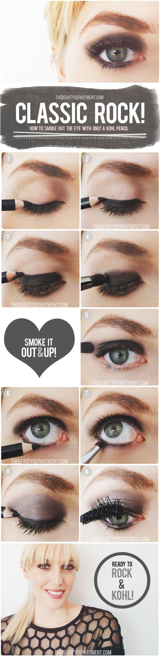 basic smoky eye tutorial with just kohl pencil + mascara!