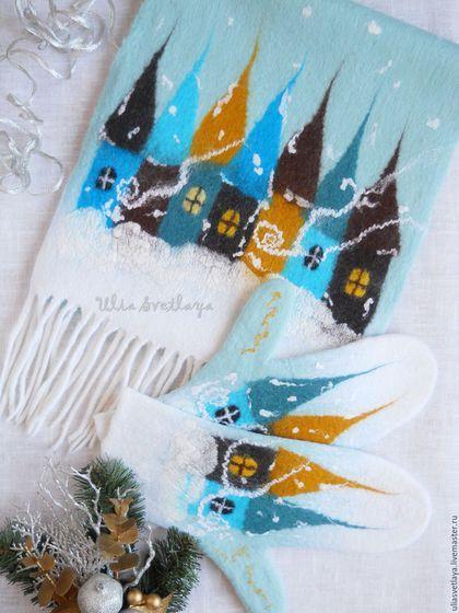 Купить или заказать Шарф и варежки 'Зимняя сказка' комплект мятный лед в интернет-магазине на Ярмарке Мастеров. Прекрасный зимний комплект цвета светлой морской волны на сказочную тематику: метель засыпает снегом домики старинного городка. Шарф и варежки сваляны из мериноса и декорированы шелковыми волокнами и шерстяной акварелью. Декор с обеих сторон варежек! Мягкие, теплые, приятные для кожи и очень уютные! Внесут яркие, сочные краски в серые тона зимы. С таким комплектом у Вас будет…