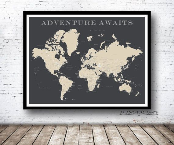 Proudly display your past/future travels with this personalized modern world travel map. This map is a perfect wedding or anniversary gift for