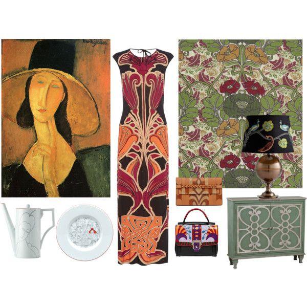 Stile Liberty-Gucci-RichardGinori-Modigliani by alvufashionstyle on Polyvore featuring moda, Biba, Paula Cademartori, Valentino, Liberty Art Fabrics and Cyan Design