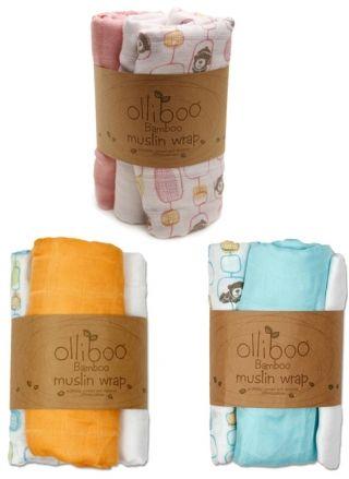 Olliboo Organic Bamboo Muslin Wraps - 3 Pack baby lightweight bamboo blankets