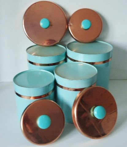 Vintage 1950s Turquoise and Copper Kitchen by SwirlingOrange11. (i think it would be perf my style if instead of copper was wood tops :)
