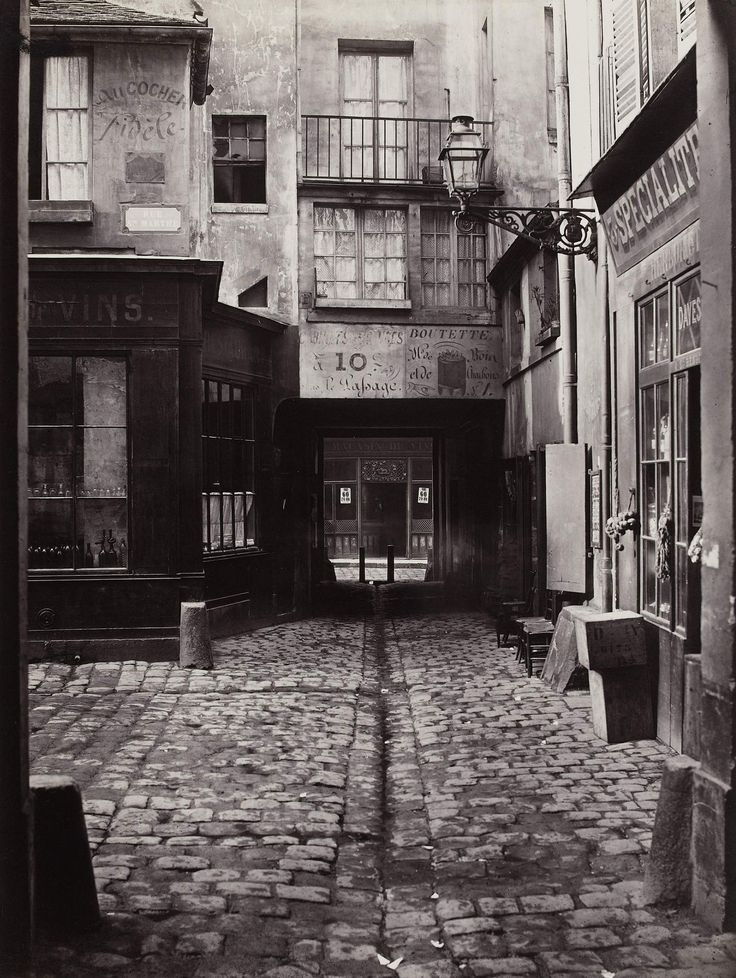 "Charles Marville (French, 1813–1879). Passage Saint-Benoît (Sixth Arrondissement), 1864-1867. Musée Carnavalet, Paris. © Musée Carnavalet / Roger-Viollet | This photograph is featured in ""Charles Marville: Photographer of Paris,"" on view through May 4, 2014. #paris"